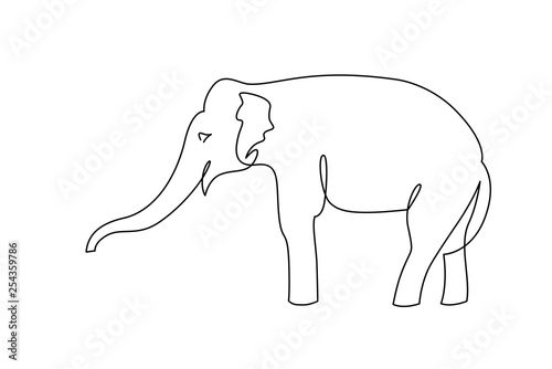 Elephant continuous one line drawings set Wallpaper Mural