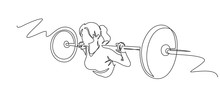 Woman Lifting Weights Continuous One Line Drawing