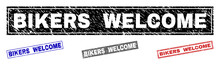 Grunge BIKERS WELCOME Rectangle Stamp Seals Isolated On A White Background. Rectangular Seals With Distress Texture In Red, Blue, Black And Gray Colors.