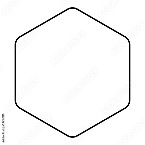 Fotografía  Hexagon with rounded corners icon black color outline vector illustration flat s