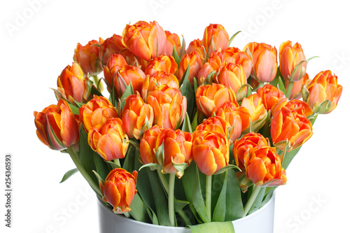 Fotografía  Bouquet of bright orange tulips isolated on white background.
