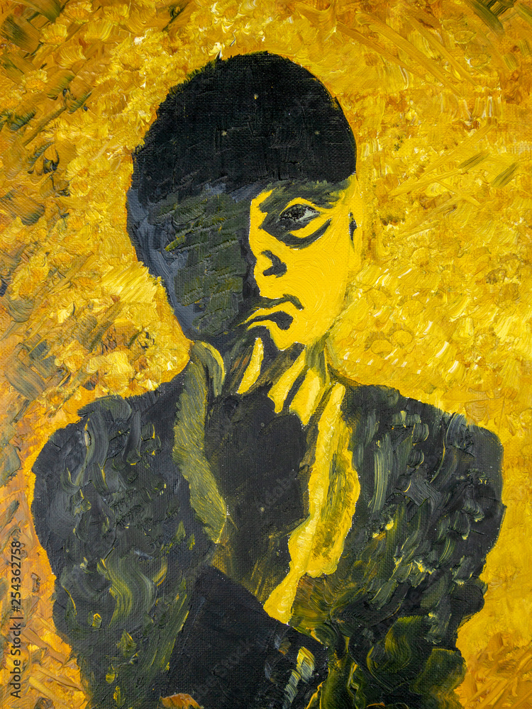 Dramatic contrast silhouette portrait of a pensive woman who props her chin with one hand. Oil painting, yellow and black color