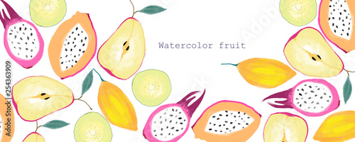 Watercolor hand drawn tropical fruit - 254363909