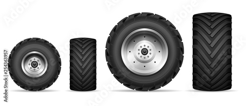 Truck and tractor wheels set Canvas Print