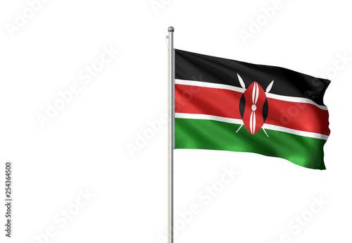 Fotografie, Obraz  Kenya flag waving isolated white background 3D illustration