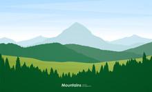 Summer Mountains Flat Cartoon ...