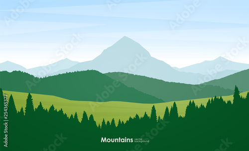 Summer Mountains flat cartoon landscape with pine forest, hills and peak.