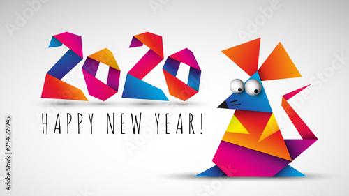 Fototapeta Chiński nowy rok 2020. Rok szczura. Ilustracja wektorowa. obraz