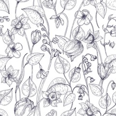 Romantic seamless pattern with blooming spring flowers and leaves hand drawn with contour lines on white background