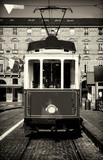 Vintage looking photo of the historical tramway line  stops in Piazza Castello, main square of Turin (Italy) - 254372507