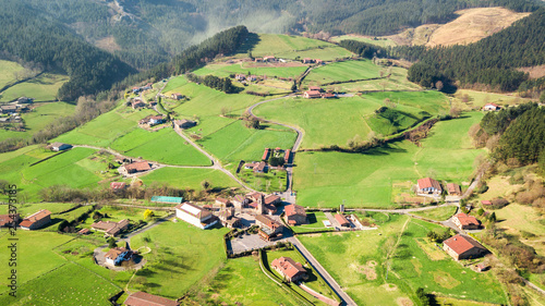 Foto auf AluDibond Pistazie aerial view of countryside village in basque country