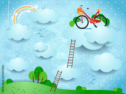 Printed kitchen splashbacks Light blue Fantasy landscape with stairways and bike over the clouds
