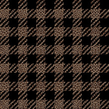 Check And Leopard Fashion Seamless Pattern. Vector Repeat Background.
