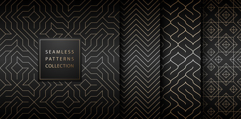 Collection of seamless geometric golden minimalistic patterns. Simple vector graphic black print background. Repeating line abstract texture set. Stylish trellis gold square. Geometry web page fill.