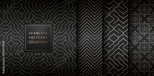 Deurstickers Kunstmatig Collection of seamless geometric golden minimalistic patterns. Simple vector graphic black print background. Repeating line abstract texture set. Stylish trellis gold square. Geometry web page fill.