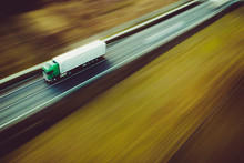 Fast Green Truck - Panning By Drone