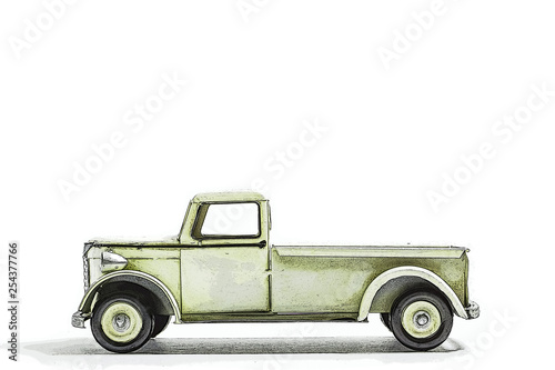 Fotografie, Obraz  Retro miniature truck. illustration. レトロなミニチュアのトラック イラスト