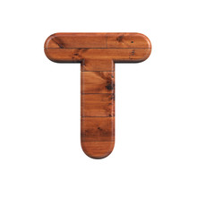 Wood Letter T - Uppercase 3d W...