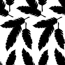 Ethnic Feathers Seamless Pattern. Natural Vector Pattern. Simple Silhouettes.  Can Be Used For Wallpaper, Textile, Invitation Card, Wrapping, Web Page Background.