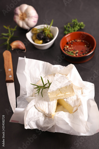 camembert with olive and rosemary