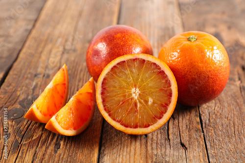 orange on wood background