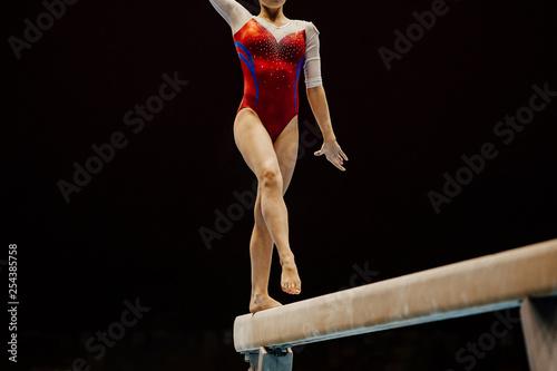 woman gymnast preparing on exercise balance beam in gymnastics Canvas Print