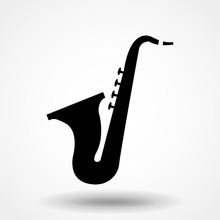 Saxophone Trumpet Vector Icon. Saxophone Symbol. Sign For Mobile Concept And Web Design. Vector Illustration.