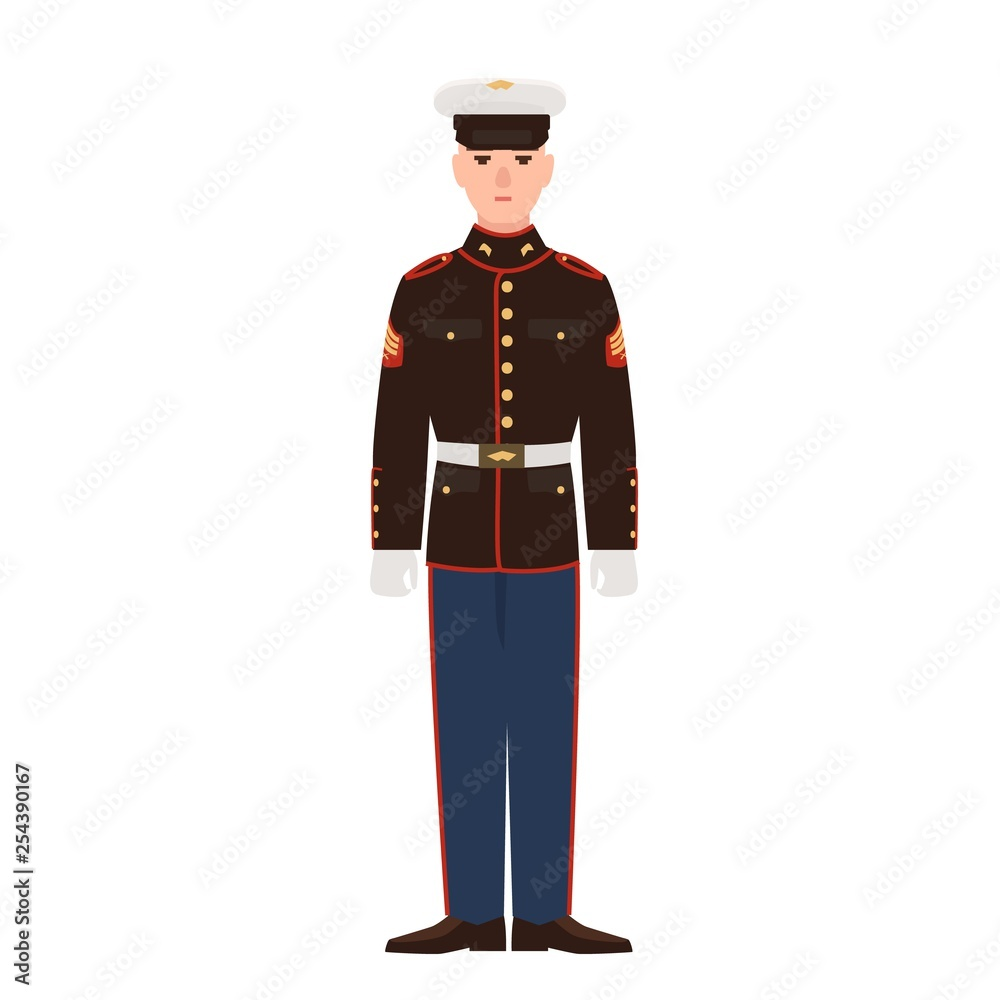 Fototapeta Soldier of USA armed force wearing parade uniform and cap