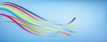 Colorful Maypole Ribbons In Bl...