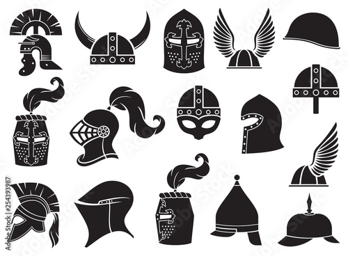 Military helmets vector icons set (ancient Roman, Gallic, Norman, viking, Greek Wallpaper Mural