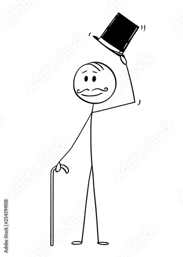 Fotomural Cartoon stick figure drawing conceptual illustration of greeting gentleman, man or businessman with retro top hat, mustache and walking cane
