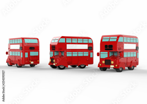 Photo  London doubledecker red bus on white background. 3d illustration.