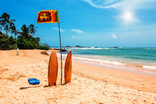 Surfboard And Sri Lankan Flag ...
