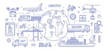 Horizontal Banner With Various Freight Transport Carrying Goods Drawn With Contour Lines. Cargo Shipping, International Delivery, World Trade. Monochrome Vector Illustration In Modern Linear Style.
