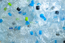 Background Of Many Plastic Bottles For Recycle.Conserve The Environment Concept