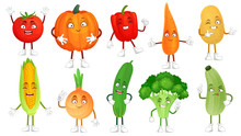 Cartoon Vegetable Character. Healthy Veggies Food Mascot, Baby Carrot And Funny Cucumber. Vegetables Isolated Vector Illustration Set