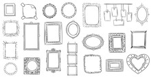 Doodle Frames. Hand Drawn Frame, Square Borders Sketched Doodles And Picture Frame Drawing Sketch Isolated Vector Illustration