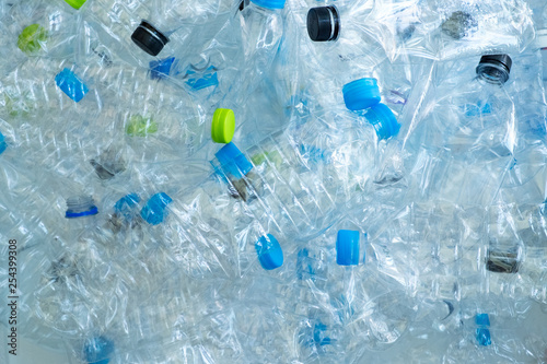 Photo  Background of many plastic bottles for recycle