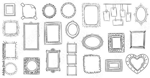 Fototapeta Doodle frames. Hand drawn frame, square borders sketched doodles and picture frame drawing sketch isolated vector illustration obraz