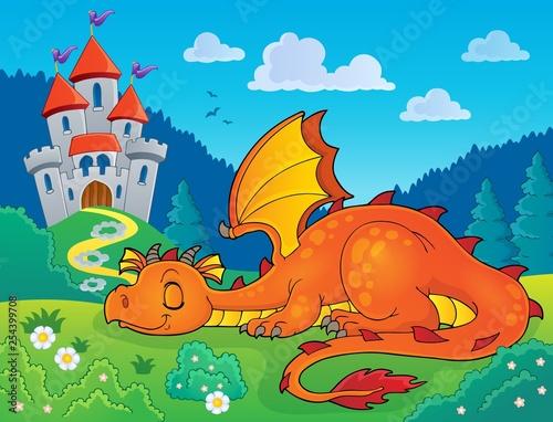 Foto op Aluminium Voor kinderen Sleeping dragon theme image 2