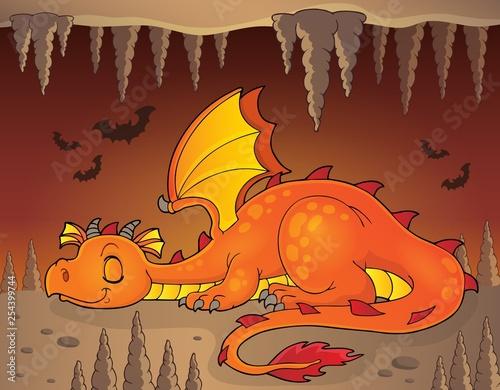 Foto op Aluminium Voor kinderen Sleeping dragon theme image 3