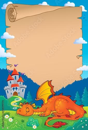 Foto op Aluminium Voor kinderen Sleeping dragon theme parchment 1