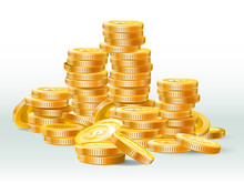 Golden Coins Pile. Gold Coin D...