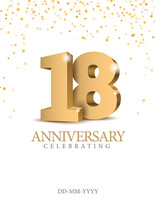 Anniversary 18. Gold 3d Number...