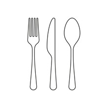 Fork, Knife And Spoon Icon. Cu...