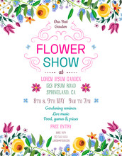 Flower Show Announcing Poster Template. Garden Party Layout With Fancy Flowers In Folk Painting Style.