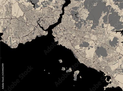 Obraz na plátně map of the city of Istanbul, Turkey