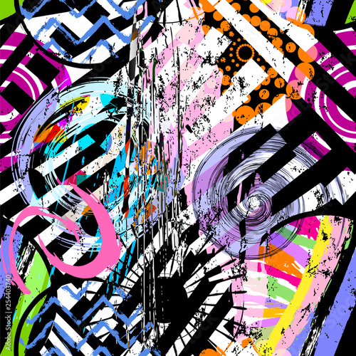 abstract background composition, with circles, paint strokes and splashes, black and white