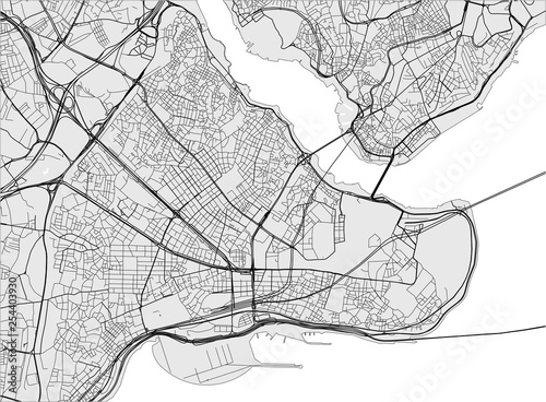 Photo map of the city of Istanbul, Turkey