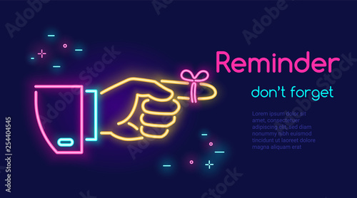 Obraz Human hand pointing finger and red tape on the finger in neon light style with text reminder dont forget on dark purple background - fototapety do salonu